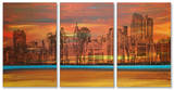 Crimson Skyscrapers Triptych Art Wood Sign