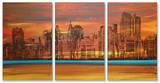 Crimson Skyscrapers Triptych Art Wood Sign