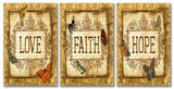 Love Faith Hope Tapestry Triptych Art Wood Sign