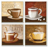 Espresso, Coffee, Latte, Cappuccino Set Wood Sign