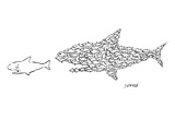 A shark is chased by a school of fish that has organized into the shape of… - New Yorker Cartoon Premium Giclee Print by David Sipress