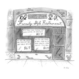 A restaurant with various signs - New Yorker Cartoon Premium Giclee Print by Roz Chast