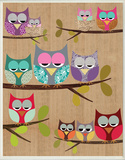 Woodland Owls on Branches Wood Sign