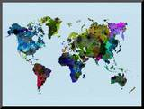 World Watercolor Map 3 Mounted Print by  NaxArt
