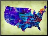 Usa Watercolor Map 5 Mounted Print by  NaxArt