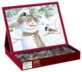 Chickadee Snowman 500 Piece Jigsaw Puzzle Jigsaw Puzzle