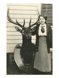 Woman with Mounted Deer Head Prints