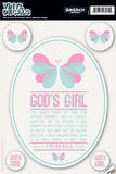 God's Girl (Pink Butterfly) Vinyl Decal Wall Decal