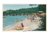 Bathing on Beach, Lake Tahoe Poster