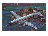 Airliner over Manhattan Prints