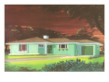 Rendering of Suburban Home at Night 高画質プリント