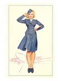 Smartly Saluting Stewardess Art