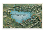 Map of Lake Tahoe Highways Print