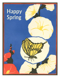 Happy Spring, Butterfly and Flowers Prints