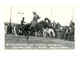 Cowboy on Bucking Bronco, Montana Prints