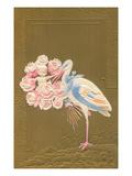 Stork Bringing Roses Print