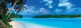 Panoramisch zicht op lagune, Caraïbische Zee Posters