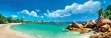 Panoramisch zicht op de Seychellen eilanden Affiches