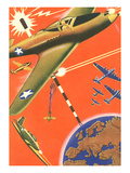 Fighter Planes over Globe Prints
