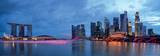 Panorama, Singapores skyline og floden Poster