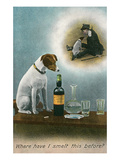 Dog Reminiscing with Whisky Bottle Prints