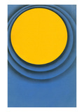 Yellow Disc with Blue Concentric Rings Prints