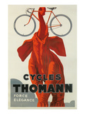 Cycles Thomann, Red Elephant Holding Bike Posters