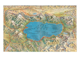 Old Map of Lake Tahoe Area Prints