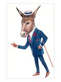 Urbane Donkey in Straw Hat Print