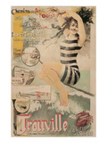 Early French Bathing Beauty, Trouville Posters