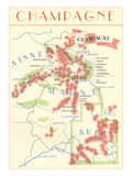 Map of Champagne Wine Country Posters