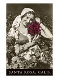 Santa Rosa, California, Woman with Grapes Poster