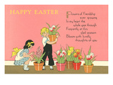 Happy Easter, Children with Flowerpots Posters