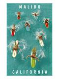 Surfers Paddling, Malibu, California Posters
