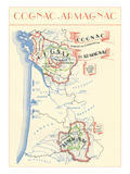 Map of Cognac-Armagnac Region Posters