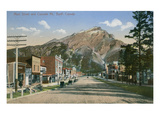 Town in Shadow of Mt. Banff, Alberta Prints