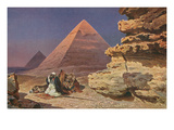 Arab with Camel at Pyramids, Giza, Egypt Poster