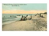Vintage Beach Scene Near Norfolk, Virginia Prints