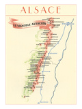 Map of Alsace Region Wine Country Prints