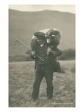 Shepherd Carrying Sheep Poster