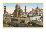 Mameluk Tombs and Citadel, Cairo, Egypt Print