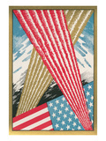 Flag with Fireworks Posters