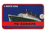 White Star to Europe Queen Mary Ocean Liner Luggage Tag Prints