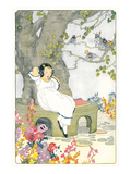 Japanese Girl Asleep in Garden Prints