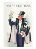 Happy New Year, Swell with Champagne Prints