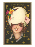 Easter Greetings, Art Deco Woman with Eggshell Hat Print