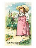 Girl Watering, Seed Packet Poster