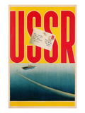 USSR Poster with Ship and Letter Prints