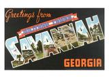 Greetings from Savannah, Georgia Posters