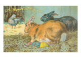 Happy Easter, Rabbits with Eggs Posters